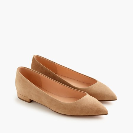J.Crew: Pointed-toe Flats In Suede For Women