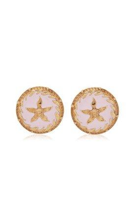 Starfish Enamel Stud Earrings By Versace | Moda Operandi