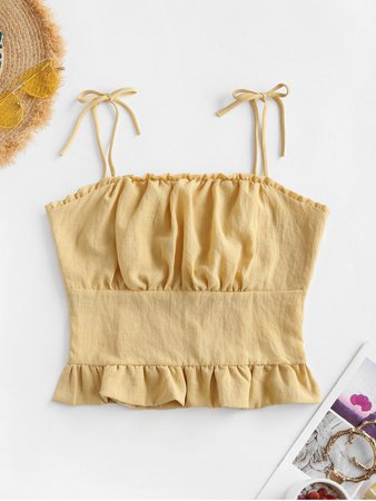 [31% OFF] 2020 Tie Ruffle Ruched Shirred Back Cami Top In YELLOW | ZAFUL