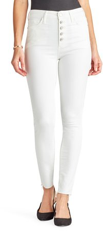 The Stiletto High Waist Button Fly Raw Hem Ankle Skinny Jeans