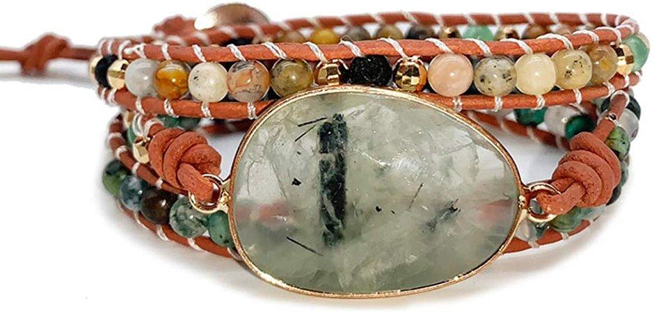 Starto Natural Stone Bracelet Jasper 3 Row Beads Wrap Wrist Statement Boho Bracelet(Green Agate): Jewelry