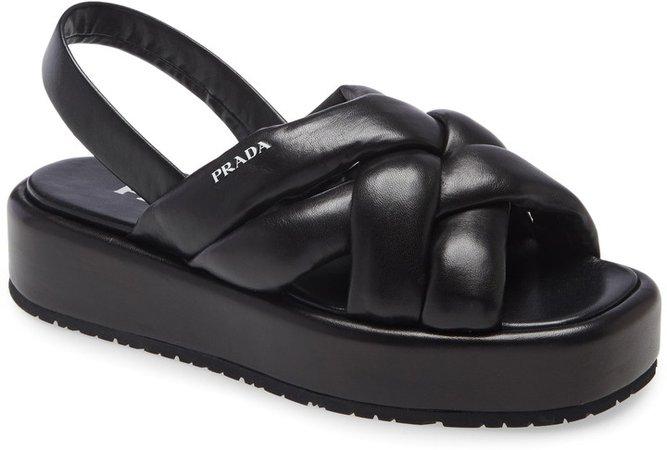 Woven Slingback Platform Sandal