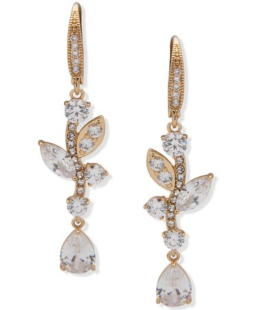 Anne Klein Gold-Tone Crystal Floral Linear Earrings & Reviews - Earrings - Jewelry & Watches - Macy's