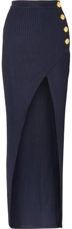 Wrap-effect Button-embellished Ribbed Jersey Skirt - Navy