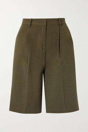 Army green Julie pleated gabardine shorts | Frankie Shop | NET-A-PORTER