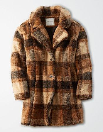 AE Faux Sherpa Plaid Coat