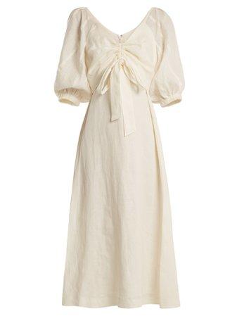 Zimmermann Painted Heart V-neck gathered linen midi dress