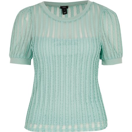 Green textured puff sleeve T-shirt | River Island