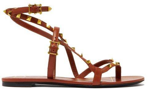 Rockstud Wraparound Leather Sandals - Tan