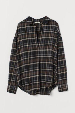 Cotton Flannel Blouse - Black