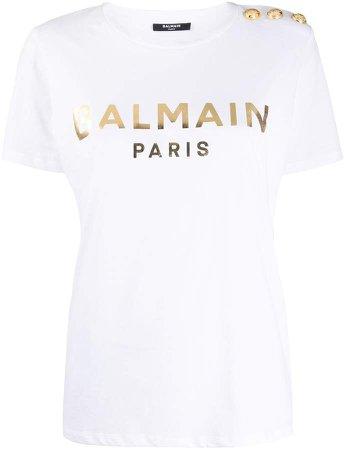 logo-print button-embellished T-shirt