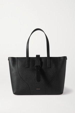 Voya Textured-leather Tote - Black