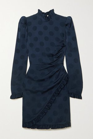 Nour Ruffled Polka-dot Satin-jacquard Mini Dress - Navy