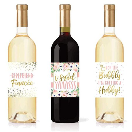 Amazon.com | 5 Engagement Party Gift Wine Labels Stickers, Cute Pink Gold Newly Engaged Decoration Supplies For Couples Men Women I'm Does This Ring Make Me Look Just Engaged Funny Wedding Ideas For Him Her Fiance: Glass Markers