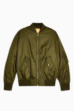 Khaki Oversized Bomber Jacket | Topshop