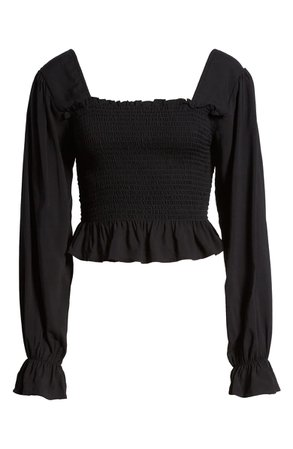 BP. Smocked Peplum Crop Top | Nordstrom
