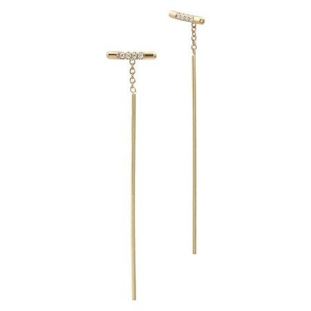 Yellow Gold Pavé Diamond Bar Threader Earrings For Sale at 1stdibs