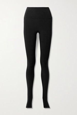 Stretch-jersey Stirrup Leggings - Black