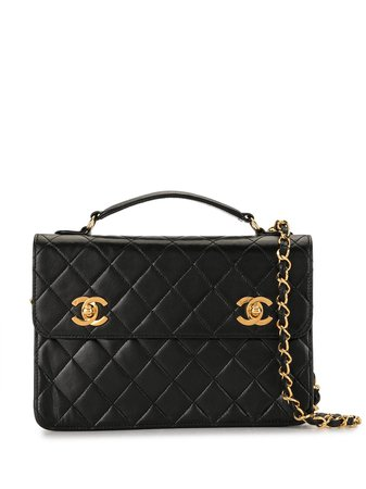 Chanel Pre-Owned 1990 Diamond Quilted Cc Two-Way Bag Vintage | Farfetch.Com