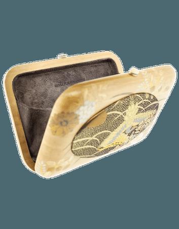 Vintage Japanese Fabric Wood Clutch