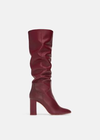 zara high knee burgundy boots