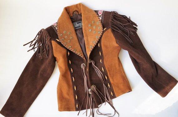 Leather Western Jacket Cowgirl Beaded Native American Fringed | Etsy
