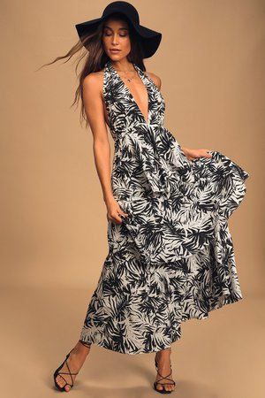 Black and White Print Dress - Halter Maxi Dress - Ruffled Maxi
