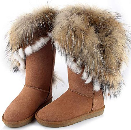 Amazon.com | APHNUS Womens Mid Calf Boots Cow Leather Fur Snow Boots | Snow Boots