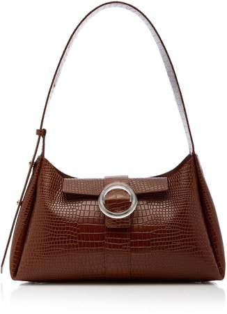 Imago A IMAGO-A Croc-Embossed Leather Shoulder Bag