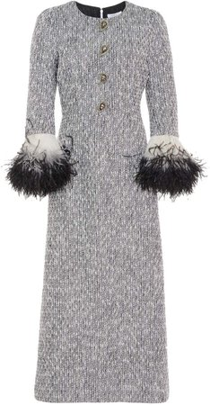 Andrew Gn Feather-Trimmed Tweed Midi Dress