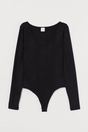 Ribbed Bodysuit - Black