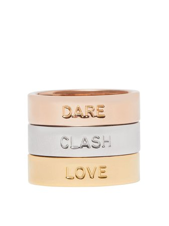 Shop gold & silver Burberry Dare, Clash, Love set of three stacking rings with Express Delivery - Farfetch