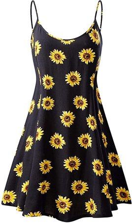 MSBASIC Women's Sun Dress Sleeveless Adjustable Strappy Summer Swing Dress (Small, MS6216-8) at Amazon Women's Clothing store