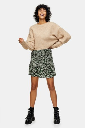 Pleated Camouflage Animal Print Mini Skirt