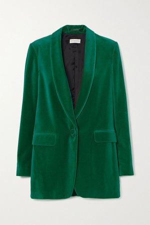 Green Blancho cotton-velvet blazer   Dries Van Noten   NET-A-PORTER