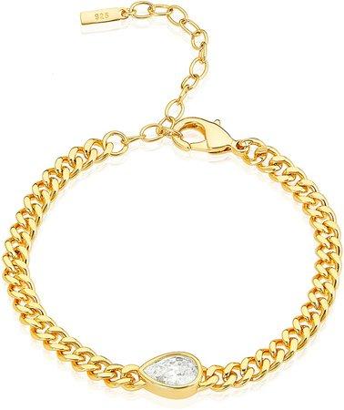 Pear Cut Sideways Set Curb Chain Bracelet