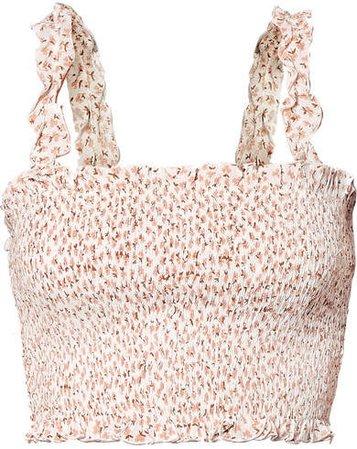 Rowe Smocked Floral-print Crinkled-crepe Top - Pink