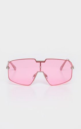 Pink Transparent Lens Flat Top Sunglasses | PrettyLittleThing