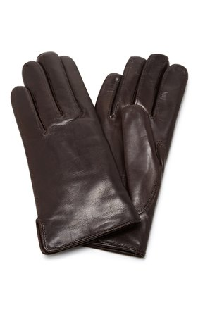 Maison Fabre Brown Leather and Rabbit Fur Gloves