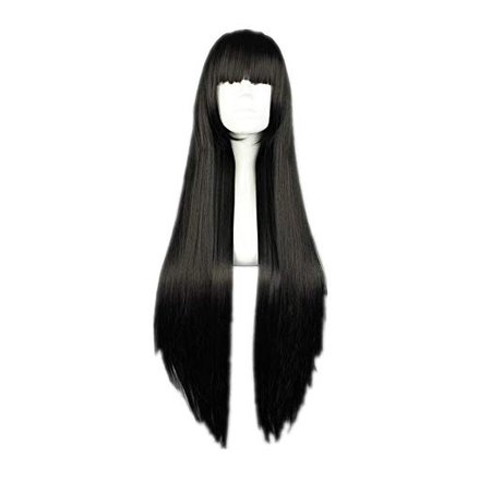 Amazon.com: Cosplay Wig Long Straight Flat Bang Synthetic Wig Anime Black Hair: Clothing