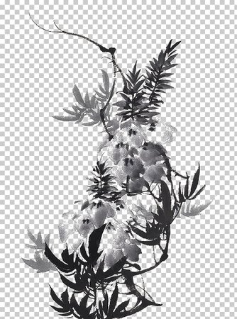 China Ink wash painting, Chinese ink painting flowers, gray petaled flowers PNG clipart | free cliparts | UIHere