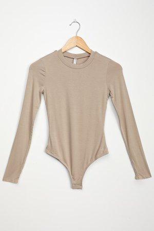 Taupe Bodysuit - Long Sleeve Bodysuit - Stretch Knit Bodysuit - Lulus
