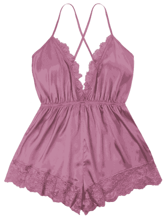 Plunging Open Back Romper DEEP PINK: Jumpsuits & Rompers M | ZAFUL
