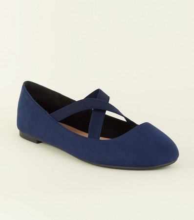 Wide Fit Navy Suedette Cross Strap Ballet Pumps | New Look