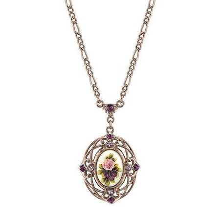 1928 Jewelry Rose Gold Tone Purple Crystal Flower Pendant Necklace