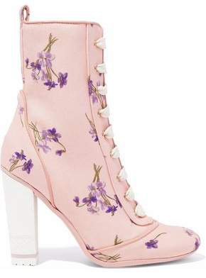 Red(V) Red(v) Lace-up Floral-print Canvas Ankle Boots