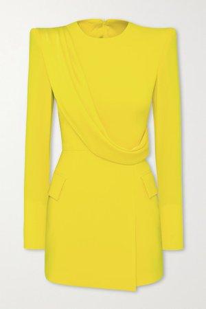 Rae Draped Satin-crepe Mini Dress - Yellow