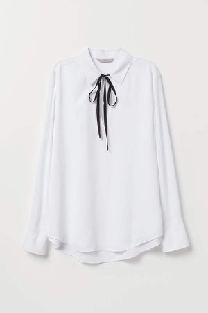 Creped Blouse with Ties - White
