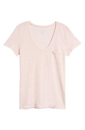 Caslon® Rounded V-Neck T-Shirt   Nordstrom