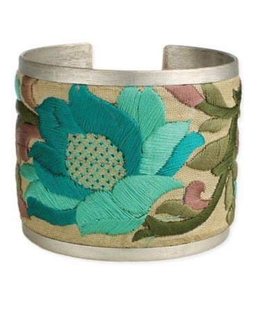 ZAD Teal & Silvertone Floral-Embroidered Cuff | Zulily